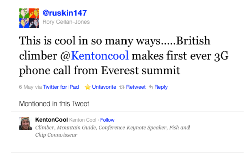 "The ""cool"" tweet from the summit of Everest that leaves me cold."