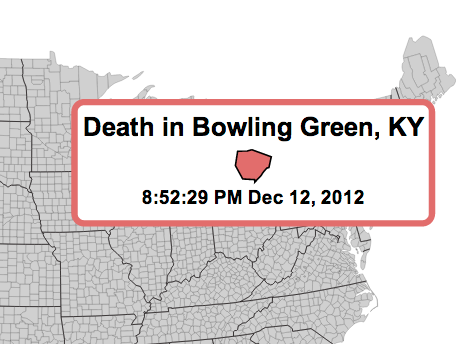Death in Bowling Green, Kentucky.