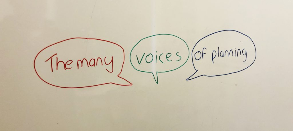 The many voices of planning. Handwritten.