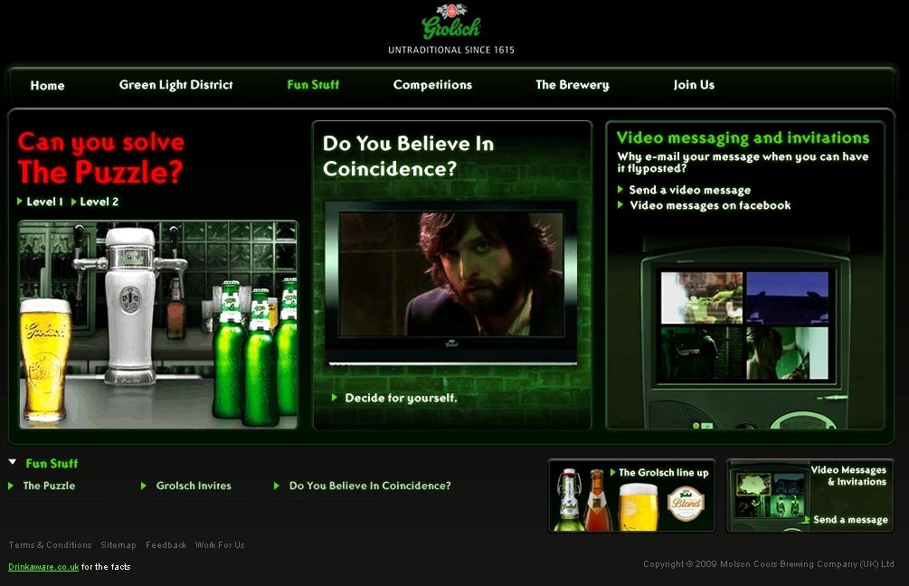Grolsch Green Light District website screengrab 2009