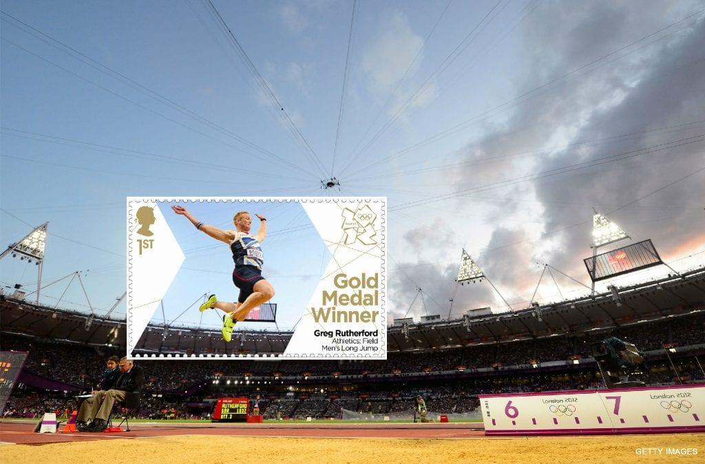 The Bigger Picture. Social media content idea to promote Greg Rutherford's Gold Medal stamp for Royal Mail during London 2012.