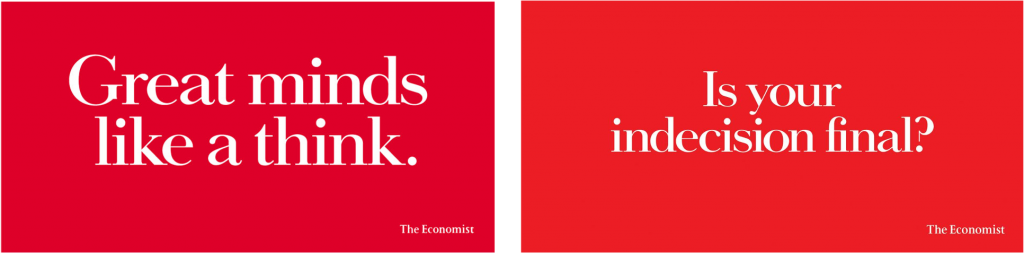 Economist posters. All about tone of voice